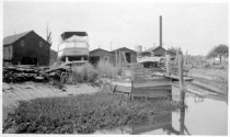 Image of Print, Photographic - b/w photo 2 boats out of water at shipyard; one on marine railway, one (ANNA -- Bridgeton, NJ) on blocks.