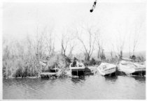 """Image of Print, Photographic - b/w photo of four small launches run ashore, one named """"Fish Hawk."""""""