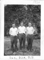 "Image of Print, Photographic - b/w photo of three young men standing in a row.  ""Gus, Dick, Bill."" ""1920"""