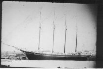 Image of Print, Photograph - B & W digital copy of Broadside view of four-masted, topsail schooner at dock.  May be Dorothy Belle.