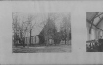 """Image of Print, Photographic - b & w photos showing exterior of stone church with gothic style windows surrounded by iron fence and trees.  Interior view shows two side aisles with wood pews, settee under a chancel arch.  Notice stove for heat in front of organ.  Inscription on back reads in faint pencil  """"For Dick and Ruby - May your Christmas be ...New Year...Lovingly...Christmas 1916"""""""