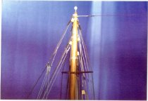 Image of Print, Photographic - Color inkjet print of the upper portion of the foremast on the AJ MEERWALD ship model built c. 1991 by Knute J. Aspenberg.
