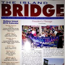 Image of The Island bridge newsletter Mar/Apr 2012 edition.  Articles include plans for parade, What's Blooming, Museum photos, Meet the Meguiars