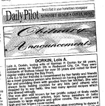 Image of Daily Pilot obituary for Lois Dorkin