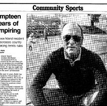 Image of Umpteen Years of Umpring - Orange3 County register article about Bill Ruhle