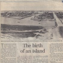 Image of The birth of an island - Daily Pilot article about the history of Balboa and Collins Islands.  Includes photo circa 1930.