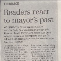 Image of Readers react to mayors past - Letters to the Editor in Daily Pilot reacting to story about Mayor Noyes criminal background