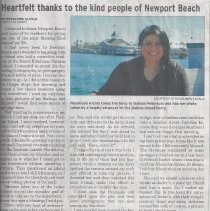 Image of Heartfelt Thanks to the Kind People of Newport Beach - Article in The Current by a visitor to Newport Beach and her experience.  Also in this edition is list of recent building permits including one at 501 Park Avenue and the police blotter showing crimes on Marine Ave and Agate Ave.