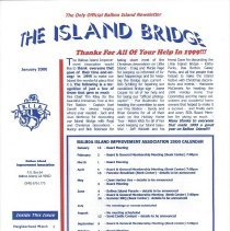 Image of January 2000 editionof Island Bridge.  Article sinclude Neighborhood watch, Aviation  issues, holidy home winners, BIMHS