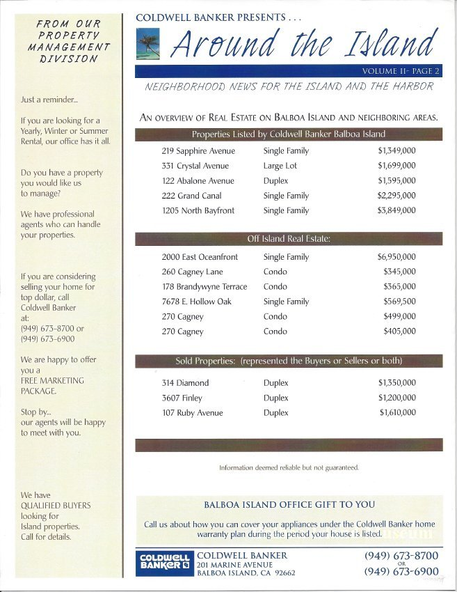 Newsletter published by Coldwell Banker entitled Around the