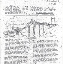 Image of Copy of newlsetter called The Island Item issued September 1, 1931