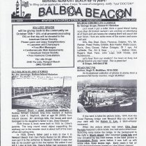 Image of October 5, 2012 edition of the Balboa Beacon Articles include photo of 1937 lifeguards, Rupert the Swan
