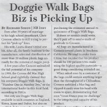 Image of Doggie Walk Bags Biz is Picking Up - Independent article about Doggie Walk Bags