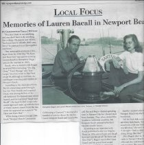 Image of Memories of Lauren Bacall in Newport beach - Independent article about Lauren Bacall in Newport Beach