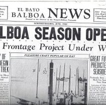 Image of photocopy of El Bayo Balboa Bews June 1932 edition.  Includes articles about the growthe and development of the harbor.