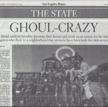 Image of Ghoul-Crazy - L A Times article about Hallowwen decorations on Balboa Island