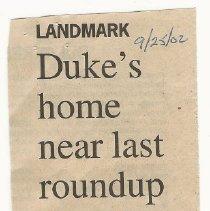 Image of John Wayne Home Daily Pilot Newspaper Clippings - 2016.28.02