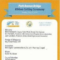 Image of Bridge Ribbon-Cutting Ceremony Leaflet - 2017.74.07