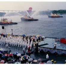 Image of 0123-045_08-16-021 - Ships in Savannah River on Day of Olympic Flag Ceremony
