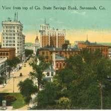 Image of 1121-057_0030 - Bird's-eye View from top of Ga. State Savings Bank, Savannah, Ga.