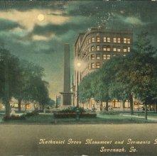 Image of 1121-057_0182 - Nathaniel Green Monument and Germania Bank Building, Savannah, Ga.