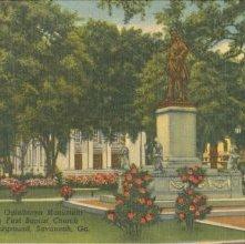 Image of 1121-057_0224 - Gen. Oglethorpe Monument Showing First Baptist Church in Left Background, Savannah, Ga.