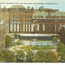 Image of 1121-057_0717 - HOTEL DE SOTO COURT, SHOWING POOL AND MINIATURE GOLF COURSE, SAVANNAH, GA.