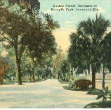 Image of 1121-057_1988 - Gaston Street, Entrance to Forsyth Park, Savannah, Ga.