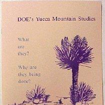 Image of DOE Yucca Mountain Studies