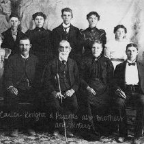 Image of Knight Family - Samuel Carlos Knight  His parents, and Siblings Seated L-R Samuel Carlos Knight, Samuel Knight, Laura Melvina Leavitt Knight Edward Leavitt  Knight Standing L - R Inez Knight, Thomas Dudley Knight, Edith Lavica Knight, Wilford Woodruff Knight laura Melvira Knight, Delma Knight Tobler
