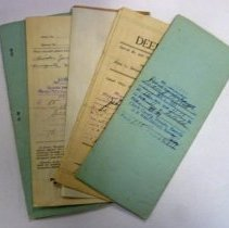"Image of Five deeds to the property Nora and Esmond owned on the North West corner of Yucca and Mesquite Blvd. The Arts building now occupies the property. Originals are achieved, copies are in the folder ""Deeds & Property"" in our library.