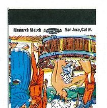 Image of Copy of a Match Book cover from Fayes Cafe. Picture of Fayes Cafe on the north wall is where the copy of the Matchbook cover is located.