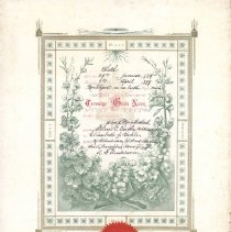 Image of Marriage Certificate. Steiner C. Garthe to Elizabeth F. Bahle 1889