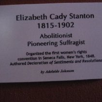 Image of Elizabeth Cady Stanton by A. Johnson, wall label