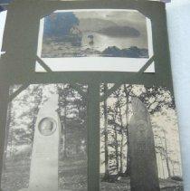 Image of top: scenic postcard; bottom: John Ruskin monument