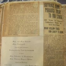 Image of newspaper clippings and invitation