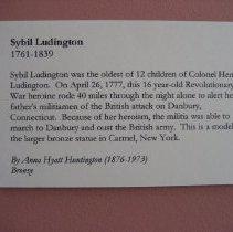 Image of Sybil Ludington sculpture, wall label