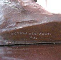Image of Sybil Ludington sculpture, foundry mark detail
