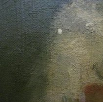 Image of Elizabeth Cady Stanton by Harriet de Forest, chipped paint detail
