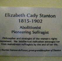 Image of Elizabeth Cady Stanton by Harriet de Forest, wall label