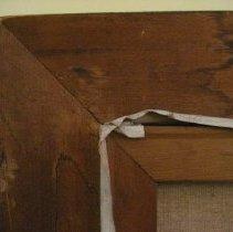 Image of Elizabeth Cady Stanton by Harriet de Forest, frame corner reverse
