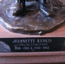Image of Jeannette Rankin by Mimnaugh, plaque detail