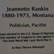 Image of Jeannette Rankin by Mimnaugh, wall label