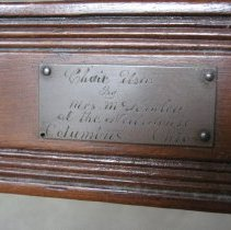 Image of Rush Seat Chair, plaque detail