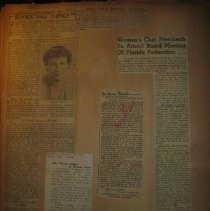 Image of newspaper clippings, including article on Elizabeth Hawes