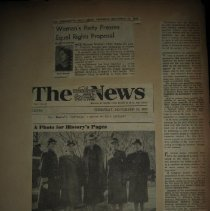 Image of newspaper clippings, including photograph with Eleanor Roosevelt