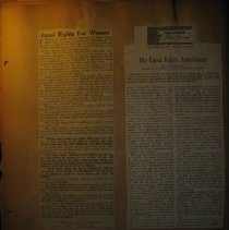 Image of newspaper clippings about Equal Rights for women