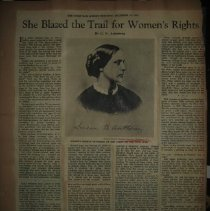 Image of newspaper article about Susan B. Anthony