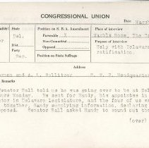 Image of National Woman's Party Congressional Voting Card Collection - 1920.005.001