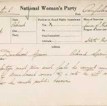 Image of National Woman's Party Congressional Voting Card Collection - 1923.022.009
